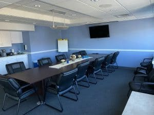 Scranton meeting room with conference table and kitchenette